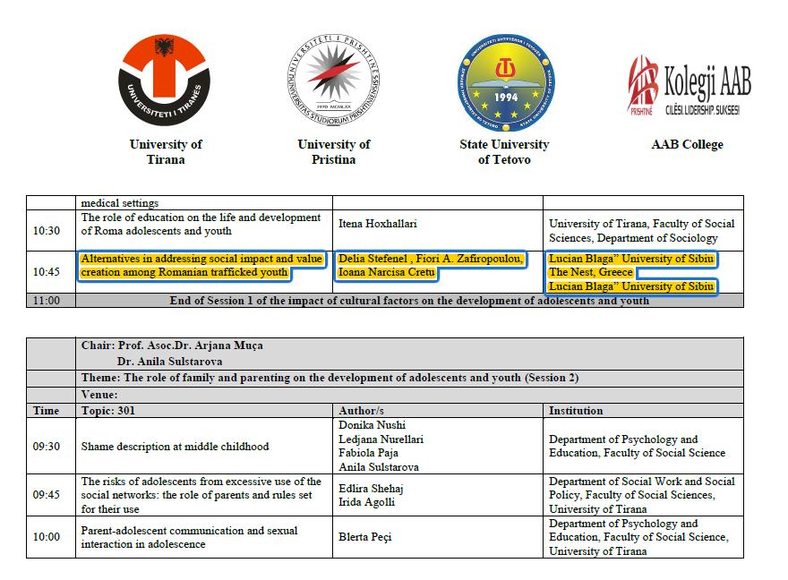 2nd – 3rd of December 2016, International Conference, University of Tirana, Albania